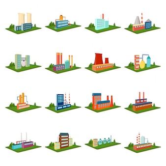 Icono de conjunto de dibujos animados de fábrica. icono de conjunto de dibujos animados de planta industrial. fábrica