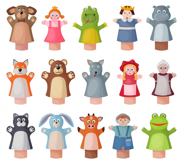 Icono de conjunto de dibujos animados de marionetas. muñeca de teatro de ilustración sobre fondo blanco. conjunto de dibujos animados icono marioneta.