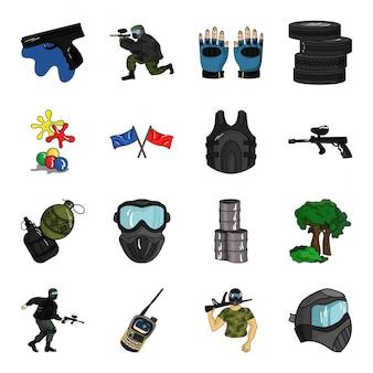Icono de conjunto de dibujos animados de paintball. icono de conjunto de dibujos animados aislado jugador militar. ilustración de paintball.