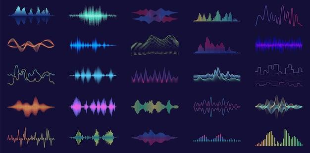 Icono de conjunto de dibujos animados de sonido de onda.