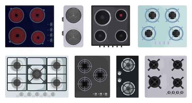 Icono de conjunto de dibujos animados de superficie de estufa ilustración de estufa eléctrica