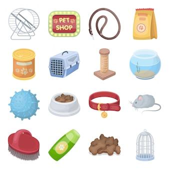 Icono de conjunto de dibujos animados de tienda de mascotas. dibujos animados aislados establecer icono de atención veterinaria. la tienda de animales .