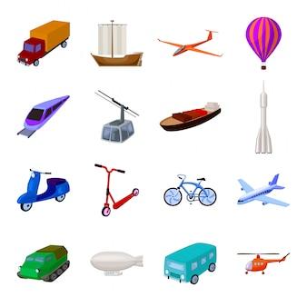 Icono de conjunto de dibujos animados de transporte. ilustración viaje transporte. dibujos animados aislados set transporte icono.