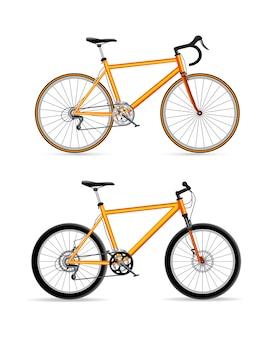 Icono de conjunto de diseño de bicicleta deportiva