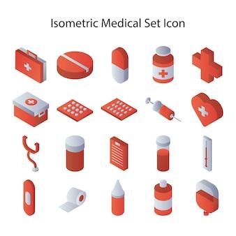 Icono de conjunto médico isométrico