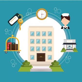 Icono de conjunto de servicios de hotel