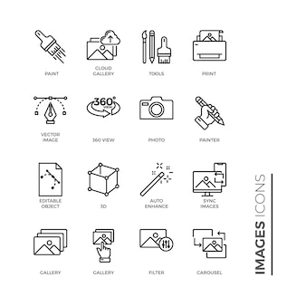 Icono de conjunto simple de imágenes, icono de esquema