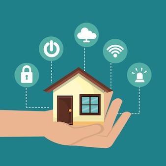 Icono de conjunto de tecnología de hogar inteligente