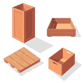 Icono de conjunto de vector isométrico de caja de madera