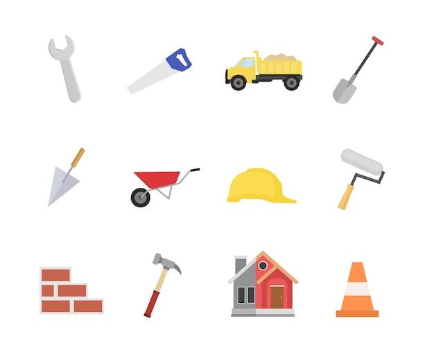 Icono de construcción en diseño de estilo plano