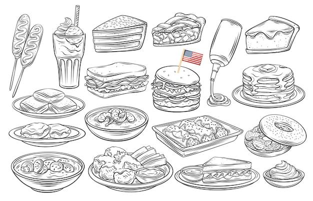 Icono de contorno de comida americana