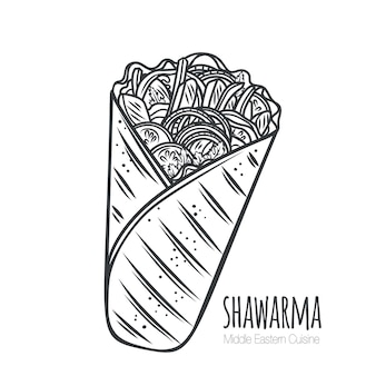Icono de contorno de envoltura de pollo o shawarma