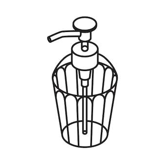 Icono de contorno de jabón líquido. dispensador aislado