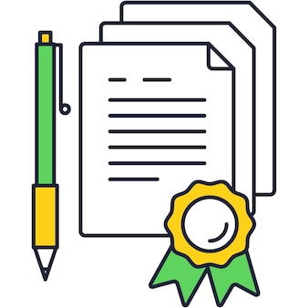 Icono de contrato con bolígrafo para vector de firma