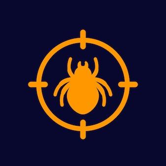 Icono de control de plagas con un error, vector
