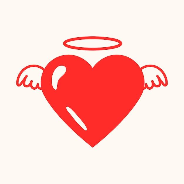 Icono de corazón de ángel, vector gráfico de elemento lindo rojo