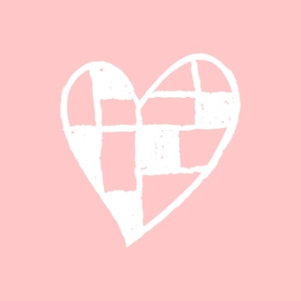 Icono de corazón a cuadros, vector diseño de doodle de día de san valentín rosa