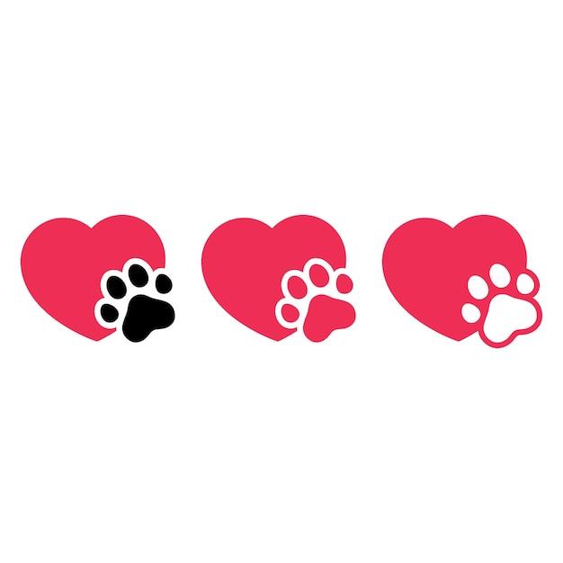 Icono de corazón de huella de pata de perro