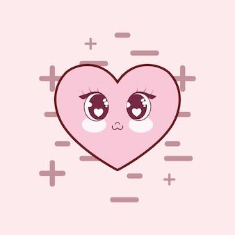 Icono del corazón kawaii