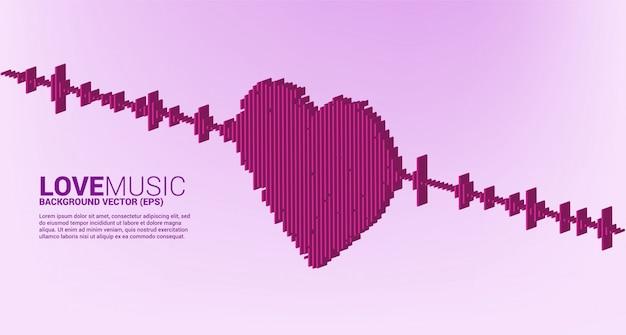 Icono de corazón de onda de sonido 3d fondo de ecualizador de música. canción de amor música señal visual
