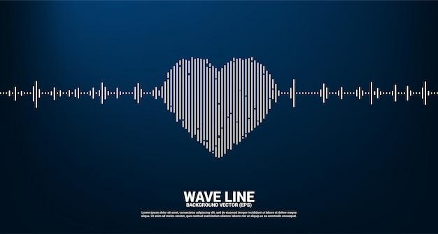 Icono de corazón de onda de sonido fondo de ecualizador de música. canción de amor música señal visual