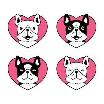 Icono de corazón de perro bulldog francés
