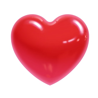 Icono de corazón realista rojo brillante aislado
