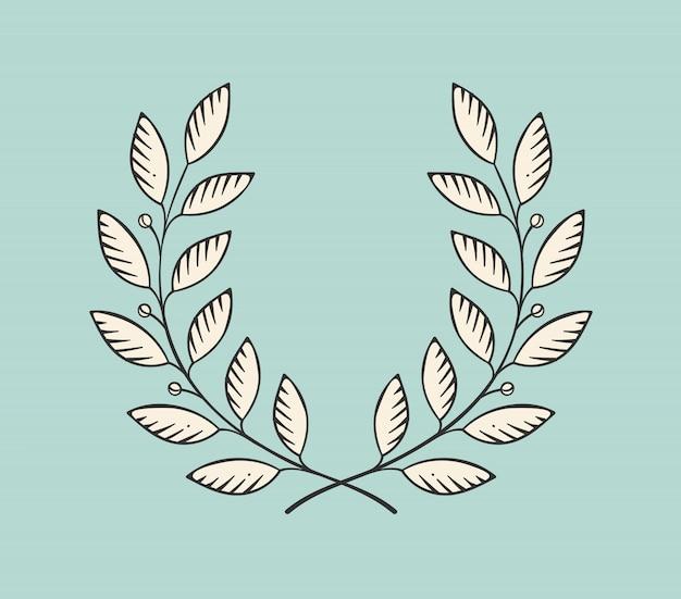 Icono de corona de laurel aislado sobre un fondo turquesa