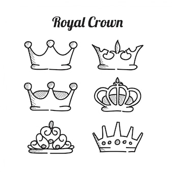 Icono de la corona real conjunto ilustración vectorial