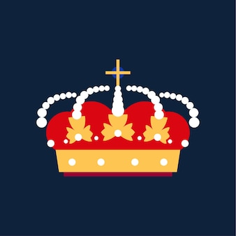 Icono de corona de rey de oro. ilustración de dibujos animados plano de vector. ilustración de dibujos animados de icono de vector de corona para diseño web