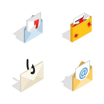 Icono de correo establecido sobre fondo blanco