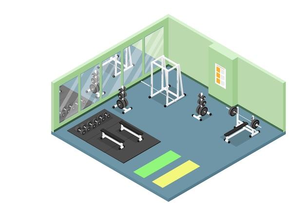 Icono de corte isométrico del interior del gimnasio moderno con pesas, barra, mancuernas, rejilla para sentadillas, colchonetas y bancos