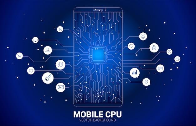 Ícono de cpu conectar el ícono del teléfono móvil con estilo de placa de circuito de línea