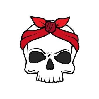 Icono de cráneo de tatuaje de vieja escuela divertido