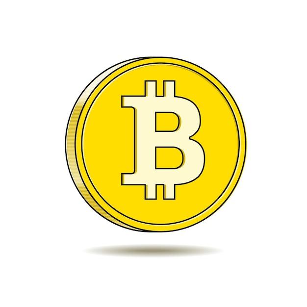 Icono de criptomoneda digital bitcoin dorado