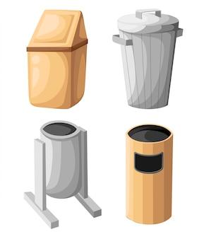 Icono de cubo de basura aislado. ilustración. estilo plano cesta de papel usado. papelera papelera papelera cesto de basura limpiar icono de limpieza vector de basura basura