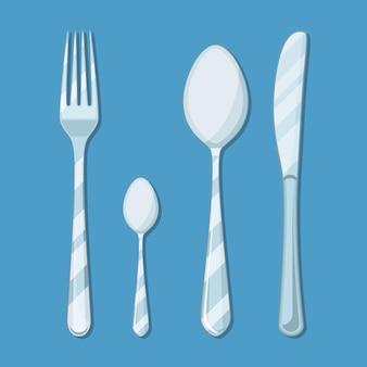 Icono de cuchillo, cuchara y tenedor aislado en azul