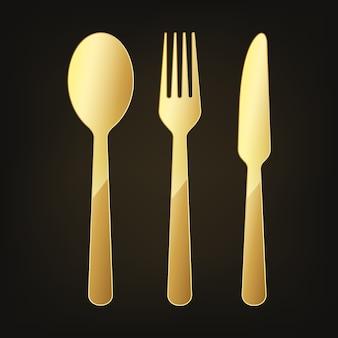 Icono de cuchillo, tenedor y cuchara de oro