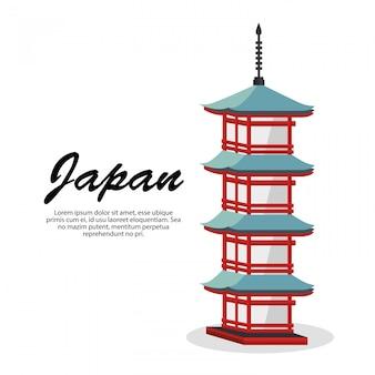 Icono de cultura de construcción de viajes de japón