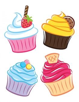 Icono de cupcake en estilo doodle
