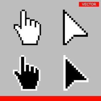 Icono de cursor de mano de ratón de píxel y píxel de flecha en blanco y negro