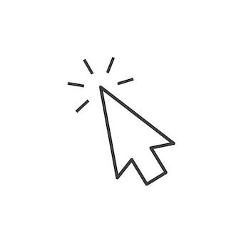 Icono de cursor del mouse haga clic en signo web delgada línea destino logo vector presione el botón del puntero del cursor para w ...