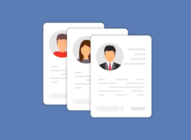 Icono de datos de información personal. icono de tarjeta de identificación. icono de datos de información personal. símbolo de detalles de la tarjeta de usuario o perfil, documento de identidad con foto y texto de la persona. conductor de automóvil, licencia de conducir, tarjeta de identificación