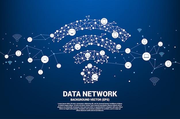 El icono de datos móviles de vector polygon se conecta a varios dispositivos.