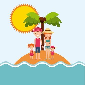 Icono de árbol de palma de isla de dibujos animados de familia