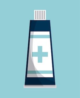 Icono de botella de medicina sobre fondo azul