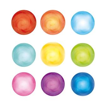Icono de círculos diseño de acuarela gráfico vectorial