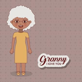 Icono de dibujos animados de mujer vieja
