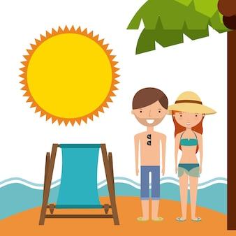 Icono de dibujos animados y playa de pareja
