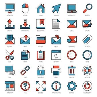 Icono de esquema lleno de conexión de correo electrónico